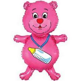 Мишка с пустышкой из пленки(розовый)