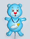 Мишка с пустышкой из пленки(голубой) 70х50см.