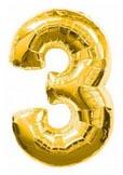 Цифра 3 большая 110см золотая (Китай)