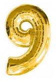 Цифра 9 большая 110см золотая (Китай)