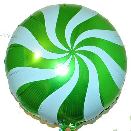 Фольга круг спираль зеленая 45х45см