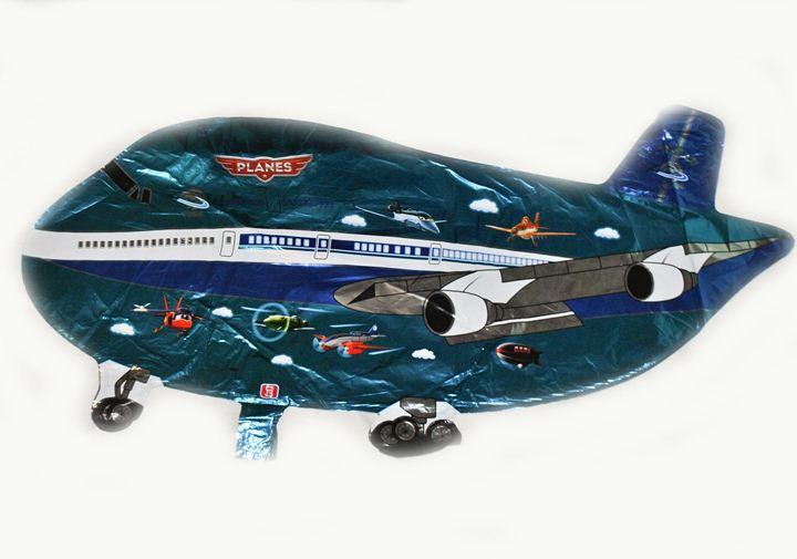 Шарик самолет синий 80х35см