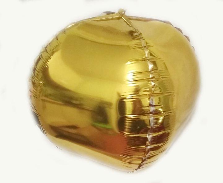 Шарик фольгированный куб золото 28х28см